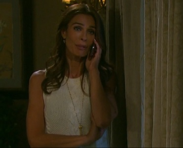 Hope chats with Rafe on the phone.