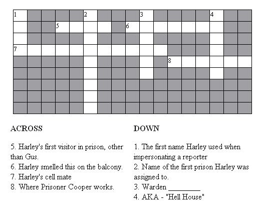 Guiding Light Prison Crossword Puzzle From The Tv Megasite