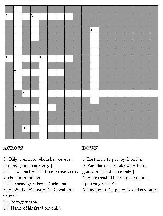 Guiding Light Brandon Spaulding Crossword Puzzle From The Tv Megasite