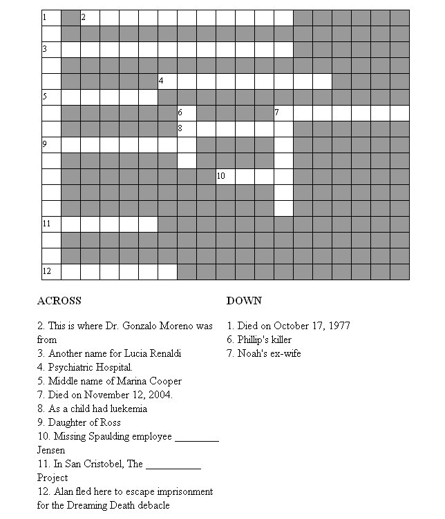 Guiding Light Crossword Puzzle From The TV MegaSite