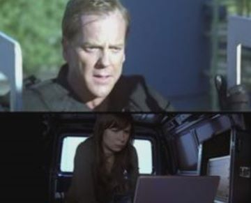 Jack and Chloe in split screen
