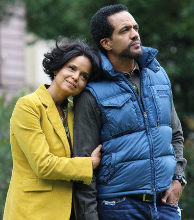 "Kristoff St. John and Victoria Rowell in ""A Baby for Christmas"" on UP"