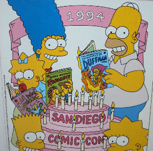 The Simpsons on the 1994 Comic-Con cover
