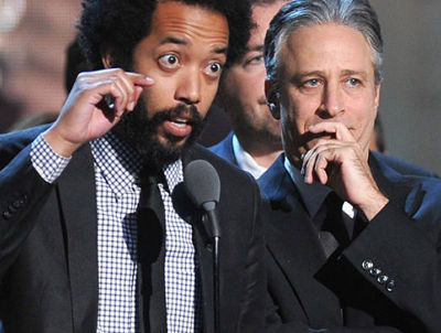 Wyatt Cenac and Jon Stewart