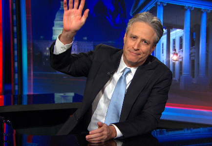 Jon Stewart waving goodbye