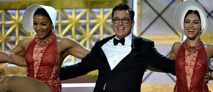 Stephen Colbert and dancers