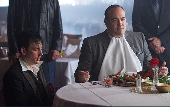 Maroni (David Zayas) tests Oswald's loyalty by calling in Jim to corroborate his story.