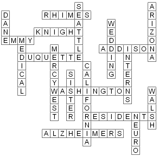 Crossword Puzzle Solution - Grey\'s Anatomy Puzzles From The TV MegaSite