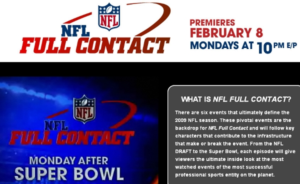 NFL Full contact Premieres Feb. 8 Mondays at 10