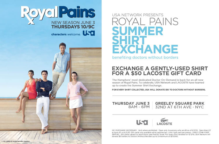 Royal Pains photo with info below