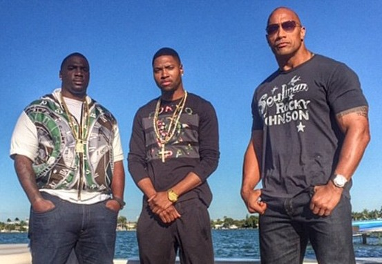 "three of the cast of ""Ballers"""