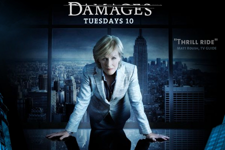 Damages logo and picture of Glenn Close