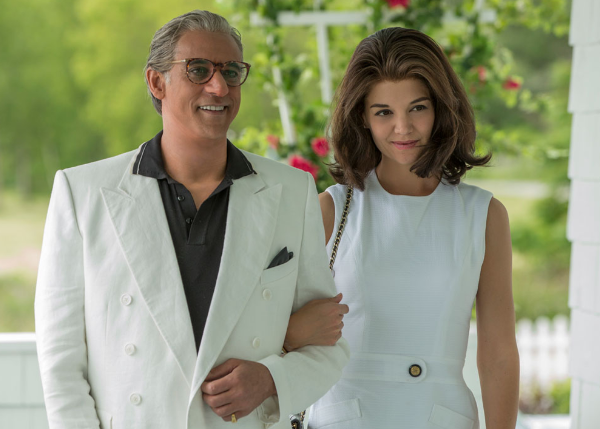 Alexander Siddig and Katie Holmes as Ari Onassis and Jackie Kennedy
