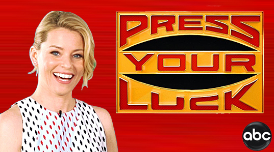 Press Your Luck logo and host Elizabeth Banks