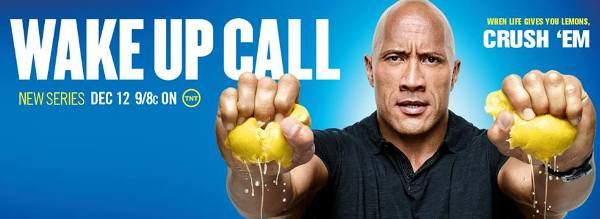 "The Rock on ""Wake Up Call"" poster"