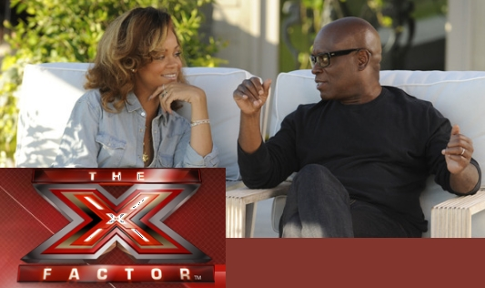 The X Factor logo with Rihanna and L.A. Reid