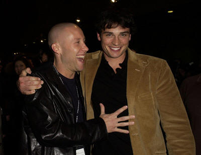 Michael Rosenbaum and Tom Welling - The WB Press Tour Pic