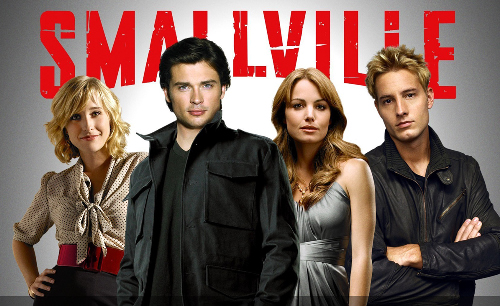 Chloe, Clark, Lois and Oliver in Smallville cast pic