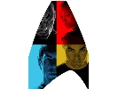 movie poster with Spock, Kirk, Uhura and Nero