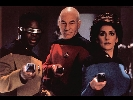 Captain Picard, Geordi and Troi